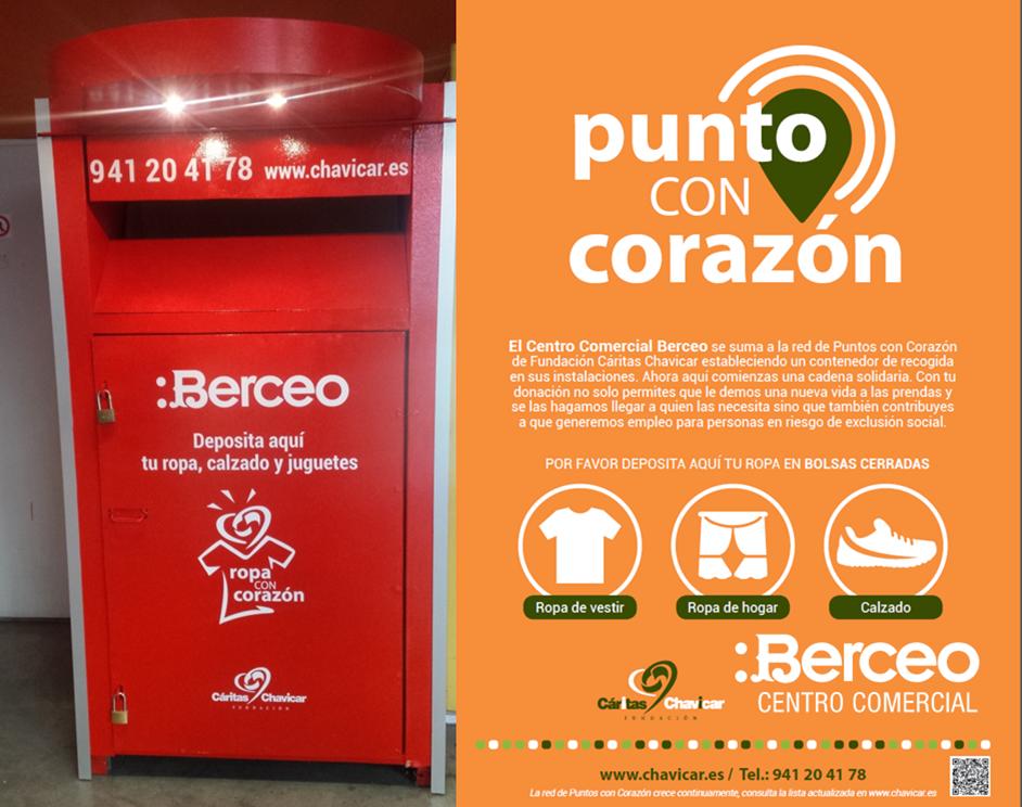 C.C. BERCEO SE SUMA A LA RED DE PUNTOS CON CORAZÓN DE FUNDACIÓN CÁRITAS CHAVICAR